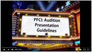 a theater looking image with the PFCI Audition Guidelines written on it.