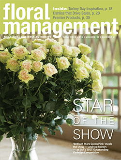 """'Brilliant Stars Green Pink', a spray rose, earned the coveted title """"Best in Show"""" at SAF Amelia Island 2015 and graced the November 2015 cover of Floral Management Magazine."""