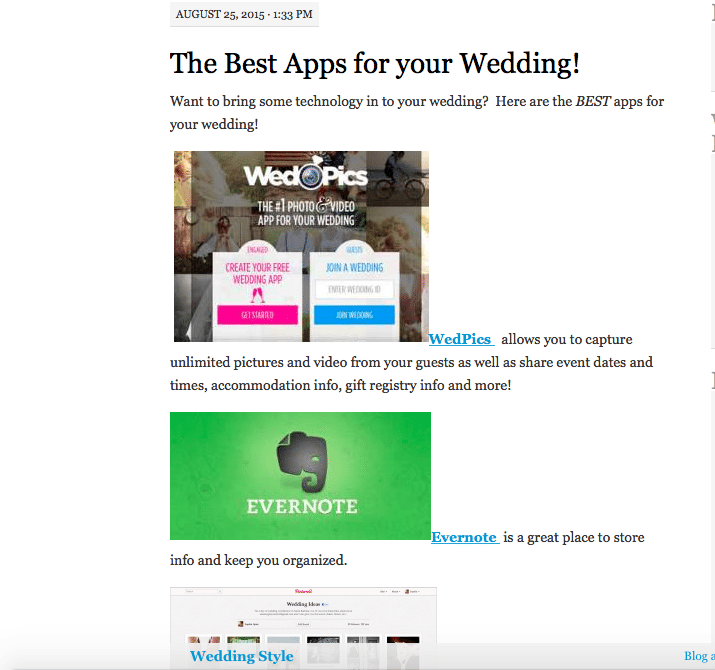 A blog post about wedding apps helps brides plan their big day and helps Heather Waits, of Bloomtastic Florist in Columbus, Ohio, connect with prospective clients.