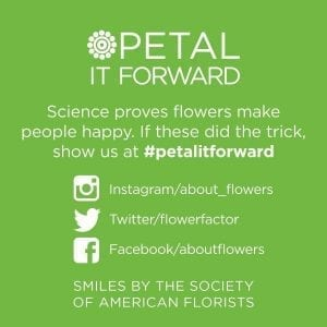 "Green stickers on the bouquets and the SAF ""street team"" encouraged consumers, to post selfies with their flowers using the hashtag #petalitforward on social media."