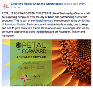 In Utica, New York, Bill Waszkiewicz of Chester's Flower Shop and Greenhouses has generated positive new stories on his shop and flowers thanks to Petal It Forward and his efforts to capitalize on the campaign.