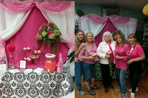 Dykstra Florist & Greenhouse in Spring Valley, New York, prepare for a breast cancer awareness party.