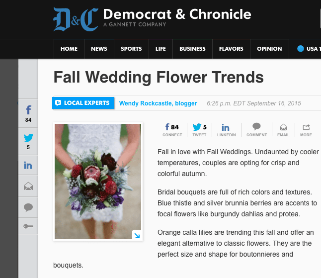 Embedding blog posts with social sharing buttons empowers your readers to increase your traffic. Pitching your posts to the local media can also widen your audience immensely, as it did for Wendy Rockcastle, of Rockcastle Florist in Rochester, New York.