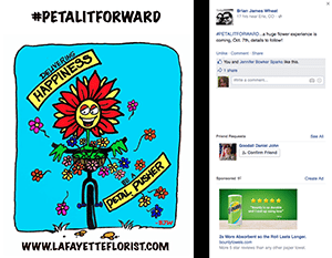 Brian Wheat of Lafayette Florist, Gift Shop & Garden Center in Lafayette, Colorado, created custom cartoons for the event. The shop also is leveraging SAF resources.