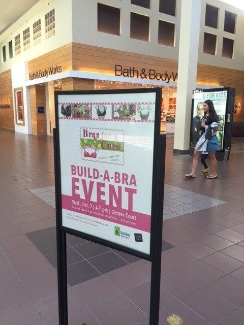 "This year, Lyons said her local mall will ""help create awareness through their larger venue, with signage throughout the mall, and will create and host a 'Build A Bra' public event"" that should drive additional traffic to Dandelions."