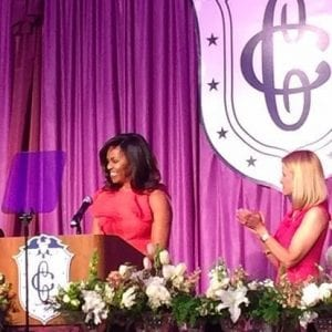 The First Lady's Luncheon, held May 12, honors the First Lady of the United States and is attended by more than 1,500 people, including congressional spouses, cabinet members and other VIPs.