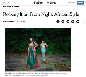"In a recent New York Time story, students and designers talked about the emergence of ""kaleidoscopically colorful African prints"" for prom."