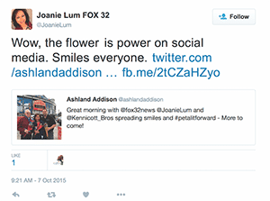 Image of tweet on Twitter.com of a Chicago reporter in support of Petal It Forward