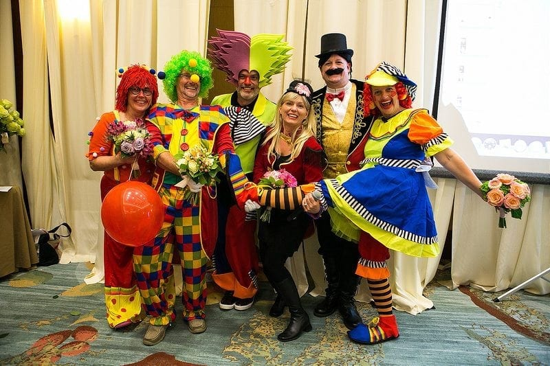 """At SAF Amelia Island 2015, the PFCI Board of Trustees presented the Premier Products Showcase with a clown theme """"Under the Big Top."""""""