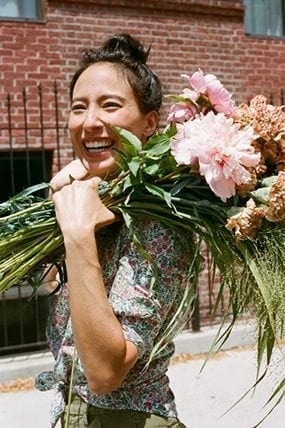 JCrew used Lisa Przystup, founder of James's Daughter Flowers in Brooklyn, to model one of its new floral print shirts in a recent email and online promotion.