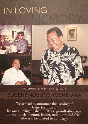 "Gene Yoshihara requested people send flowers and ""spread smiles"" in lieu of a traditional funeral service."