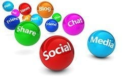 graphic with social media buzz words in bouncing balls