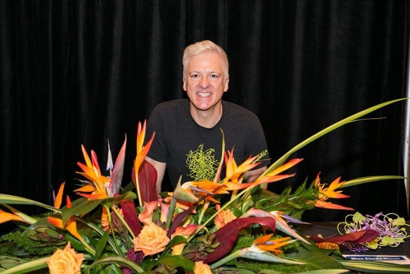 "BJ Dyer, AAF, AIFD, CPF, owner of BOUQUETS in Denver, Colorado, placed third in ""Blue Suede Shoes."""