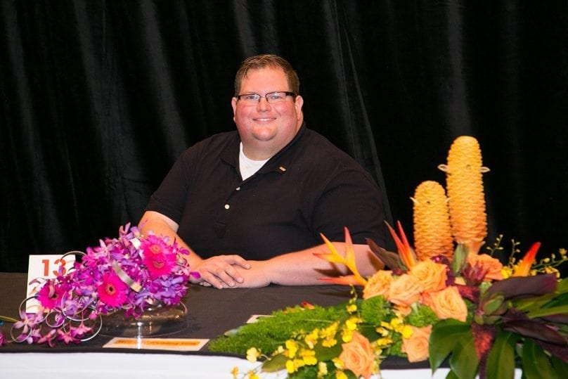 """Paul Latham, AIFD, the creative/director and co-owner of Fleur de Lis Events & Design in Louisville, Kentucky, was first runner-up. He also placed second in """"Blue Suede Shoes"""" and """"""""Hawaiian Wedding Song,"""" and third in """"Crying in the Chapel"""""""