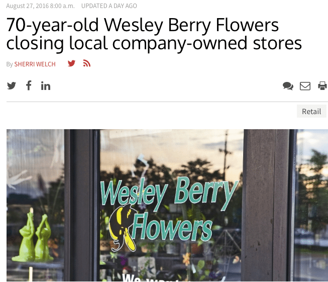 link to Wesley Berry Flowers newsstory about the closing of stores