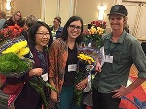 Many shop owners bring multiple employees to SAF's 1-Day Profit Blast, including Marsha Jones (left), owner of Little's Woodlawn Florist, Inc., who brought her entire 4-person team (shown with team members Amber Winter and Ryan Bresee) to the Denver event last October.