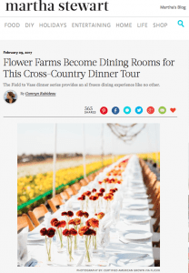 Martha Stewart, American grown field to vase dinner tour table setting