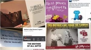 As the voice of the industry, SAF contacts companies and asks them to reconsider their promotional approach of knocking floral gifts. Among the companies contacted this Mother's Day season: Coach, Nothing Bundt Cakes, Costa, LOFT, Applebee's Neighborhood Grill and Bar and Jiffy Lube International.
