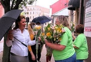 """The rain didn't dampen our goodwill - we gave out 500 bouquets in 45 minutes,"" posted Neubauer's Flowers & Market House."