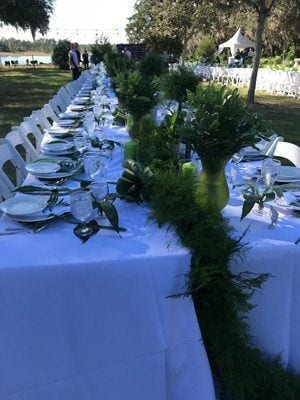 long set table white cloth and greenery. Set for a dinner party