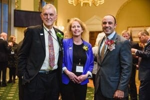 Rep. Panetta (pictured right) met with Benno Dobbe of Holland America Bulb Farms, Inc., and SAF Growers Council member Diana Roy of Resendiz Brothers Protea Growers, LLC, at the Cut Flower Caucus Reception during the 2017 Washington DC Fly-In hosted by Certified American Grown.