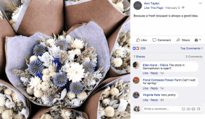 "Because a fresh bouquet is always a good idea,"" reads this Ann Taylor Facebook post"