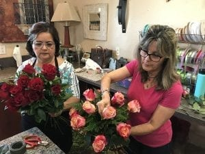 Among the floral designs De La Flor Gardens in Cooper City, Florida, delivered to the site of the shooting: 17 rose bouquets, one in honor of each victim.