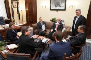 Sen. Corey Gardner (R) engaged in a lively discussion with members of SAF's Colorado delegation.