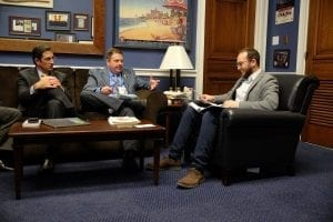 """Gustavo Gilchrist of Kennicott Brothers in Chicago and Dave Mitchell of Mitchell's Flowers & Events in Orland Park, Illinois, talk industry issues with a congressional staff member. Gilchrist, who recently became an American citizen, brought his 12-year-old son, Patricio to CAD. """"Patricio was our secret weapon,"""" Mitchell admitted. """"He had all of the information memorized."""""""