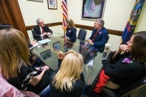 Sen. James Risch (R) met with SAF's Utah delegation, including Liza Roeser Atwood of FiftyFlowers.com in Boise, Idaho. Risch is a former governor of the state.