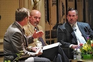 SAF President Chris Drummond, AAF, of Plaza Flowers moderated a bipartisan discussion between Jim Richards and Mike Smith of Cornerstone Government Affairs in Washington, D.C.