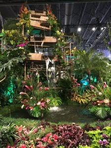 """The theme of the 2018 Philadelphia Flower Show was """"Wonders of Water."""" Among the highlights: a 10,000-square-foot rain forest, a 25-foot waterfall, and more than 4,000 plants - including 150 varieties and more than 40 cut tropical arrangements."""