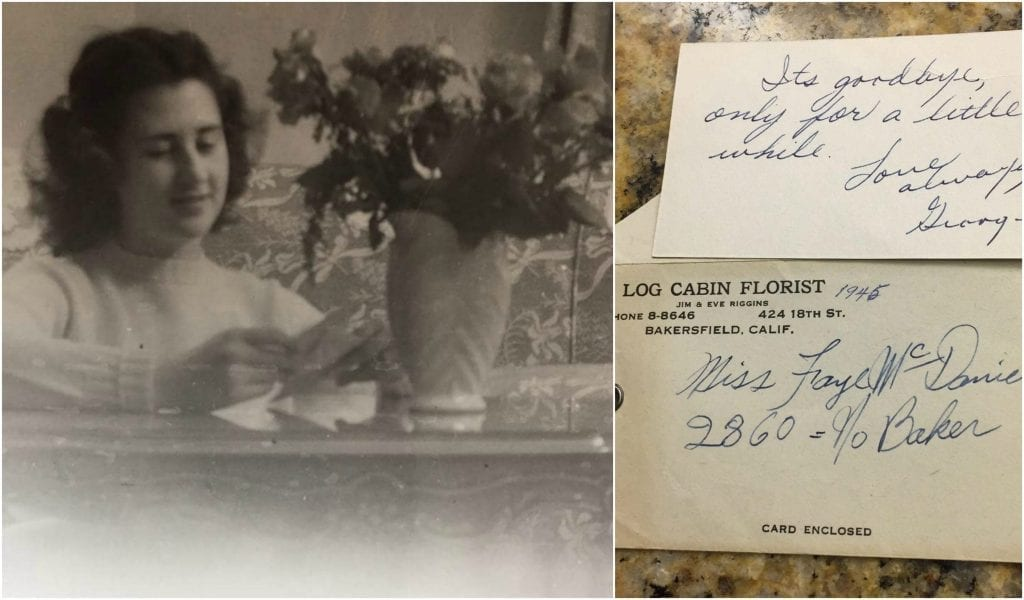 A former employee at Log Cabin Florist found a photo of her mother receiving flowers sent from her old employer just before her father shipped off to fight in Germany in 1945.