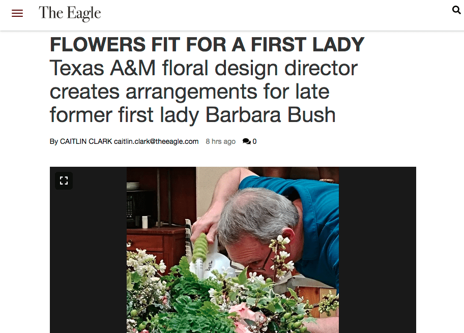 Bill McKinley, the director of Texas A&M's Benz School of Floral Design, created two wreaths near Barbara Bush's gravesite. He was among the many designers who helped create floral tributes to honor the beloved First Lady.