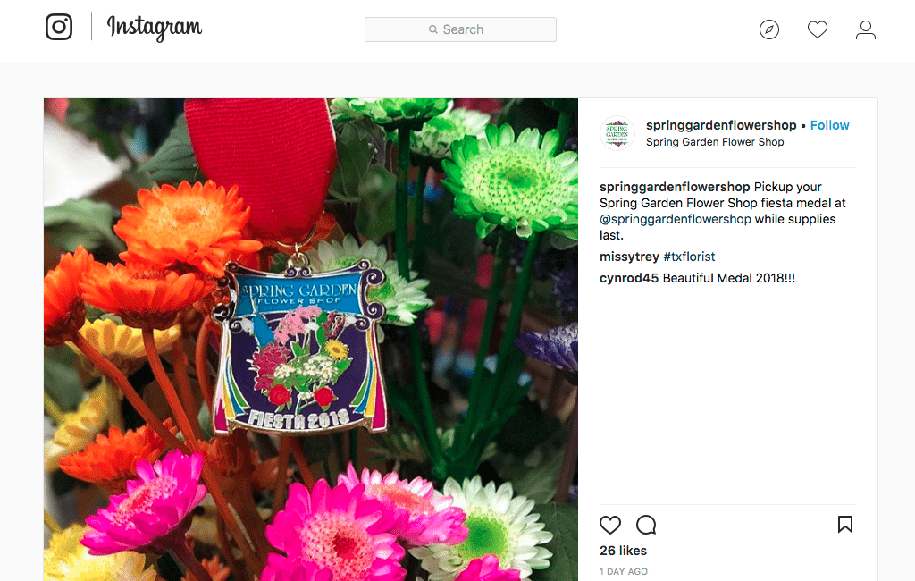 Former marketer of the year continues award winning for fiesta nine years ago spring garden flower shop started making commemorative pins for fiesta a mightylinksfo
