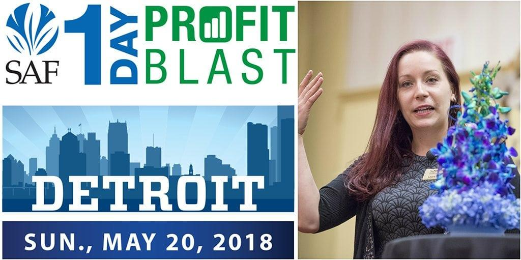 SAF's 1-Day Profit Blast in Detroit, sponsored by Nordlie and Kennicott Brothers Company, features Laura Daluga, AIFD, owner of the Department of Floristry in Ann Arbor, Michigan. Early-bird registration (and a $60 discount) ends May 4.
