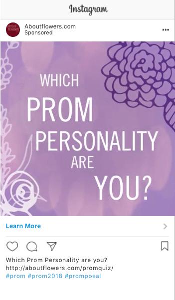 instagram screenshot of the Prom Flower Quiz