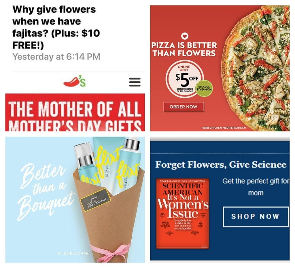 As the voice of the industry, SAF contacts companies and asks them to reconsider their promotional approach of knocking floral gifts. Among the companies contacted this Mother's Day season: Chili's® Grill & Bar, Papa Murphy's Take 'N' Bake Pizza, Pure Romance and Scientific American.""