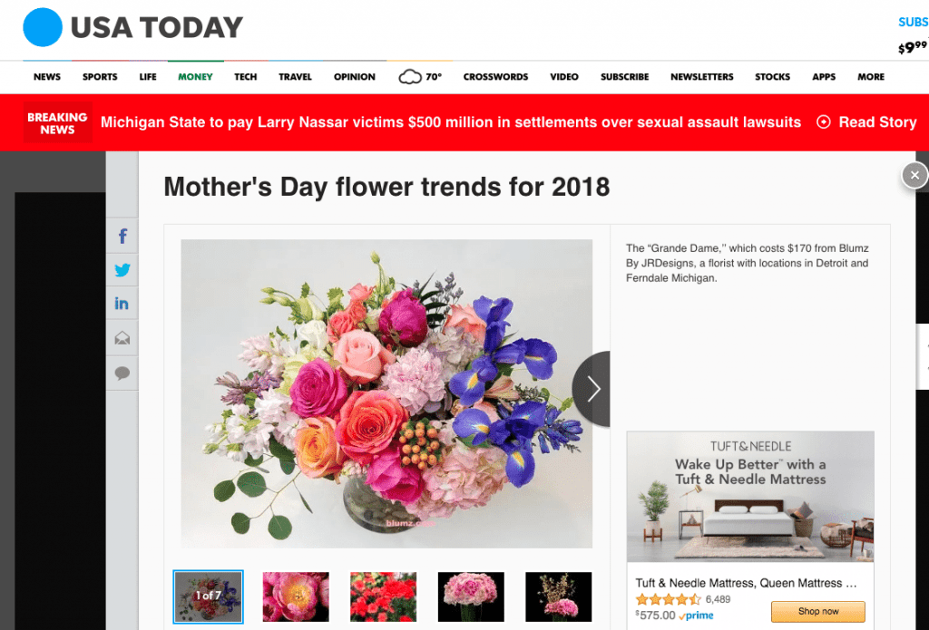 USA Today also ran a high-profile take on Mother's Day flower trends, featuring designs and insight from SAF members.