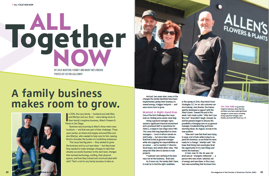 Family Business cover spread from the July 2018 issue of Floral Management