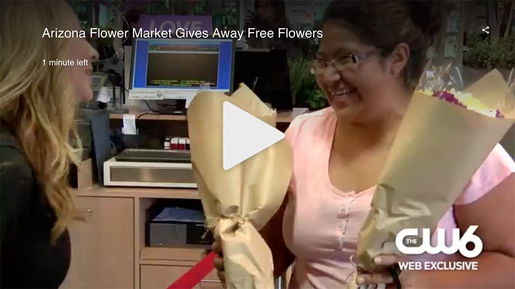 "In this CW6 news segment, Arizona Flower Market owner Cheryl Denham said, Petal It Forward ""spreads happiness and we certainly can use that around our community and around the world."""