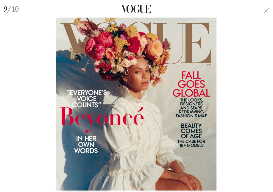 Flowers (and Beyoncé) Land Coveted Cover of Vogue's September Issue