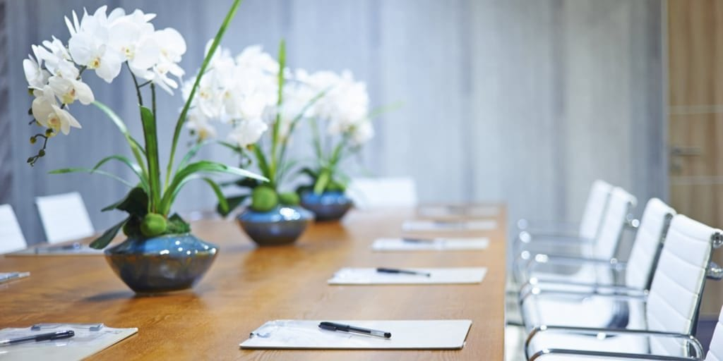 corporate table with flowers