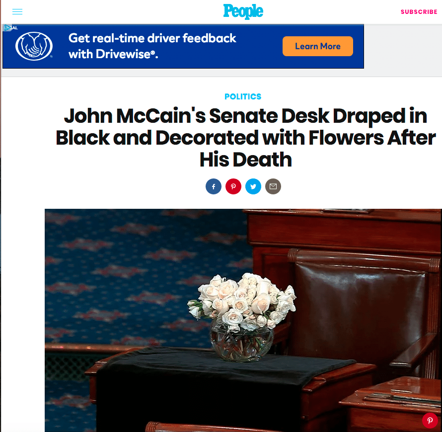 As Lawmakers Share Memories, Flowers Adorn Sen. McCain's Desk
