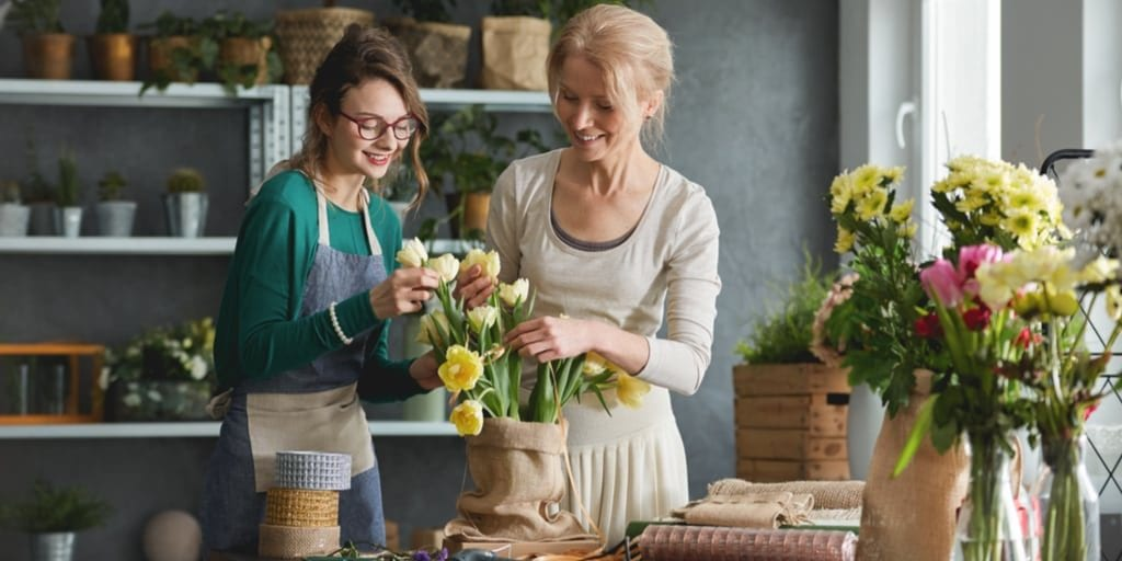 Mother Daughter in a flower shop