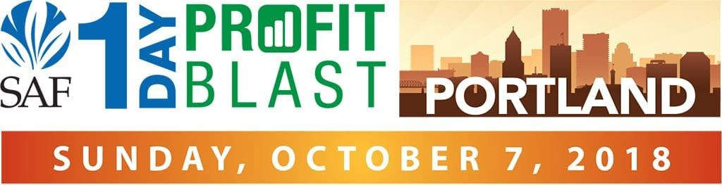 Sponsored by the Frank Adams Wholesale Florist, the SAF 1-Day Profit Blast in Portland is $139 for members and $189 for non-members early-bird by Sept. 27, and $99 for each additional registrant from the same company. Register now at safnow.org/1-day-profit-blast.