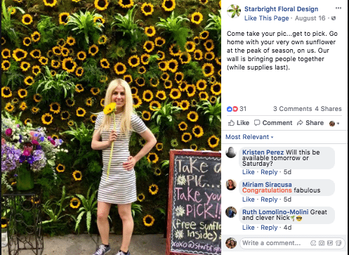 A giant wall of sunflowers outside Starbright Floral Design landed the NYC shop all over Facebook and Instagram.