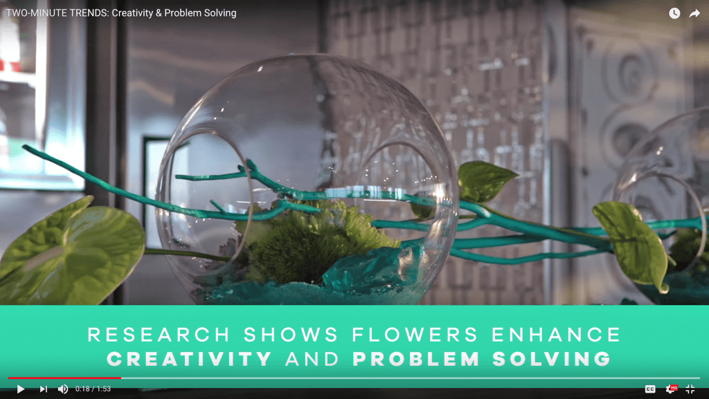 """SAF's """"Two-Minute Trends: Creativity & Problem Solving"""" video points out the Texas A&M University research that shows workers' idea generation and problem solving improves in workplace environments that include flowers and plants."""