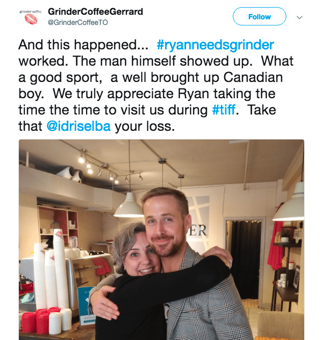 Persistent tweets, chalk full of heart and a sense of humor, helped Grinder Coffee attract Ryan Gosling and earn major social media attention.
