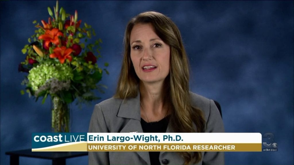 "Lead researcher Erin Largo-Wight, Ph.D, discusses her findings on an ABC affiliate in Baltimore. "" In our study, we found that women who lived with flowers, just for a few days, had a significant reduction in their stress levels,"" she told reporters."